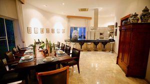 A glimpse across the impressive kitchen