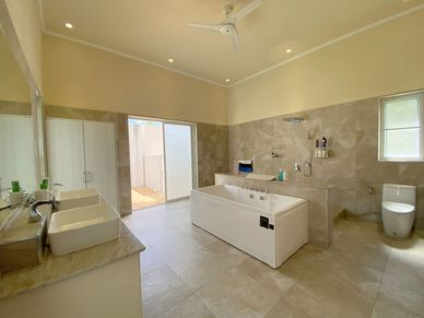 A lavish master-bathroom