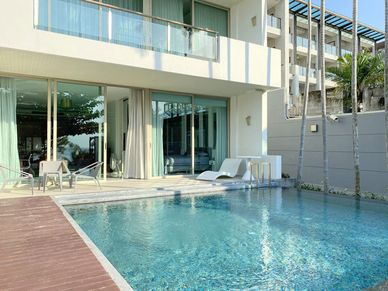A look across the private pool to the unit