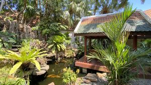 A lush fishpond and an intimate Sala