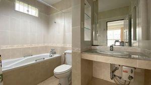 A modern bathroom with a tub