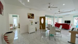 A spacious living- and dining-area