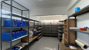 A storage rooms with steel shelves