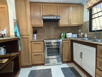 A well equipped kitchen with breakfast bar