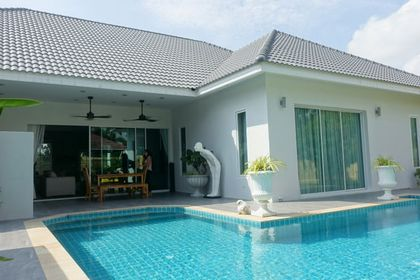 Across the pool to the covered terrace