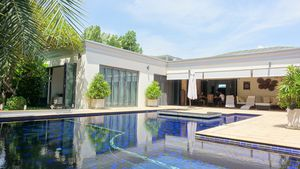 Across the pool to the wide terrace