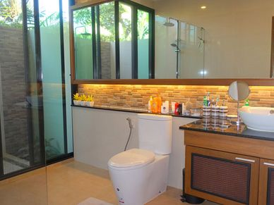 All 3 bathrooms are lovely - this one with outdoor shower