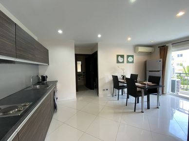 Another angle of the kitchen and dining-area