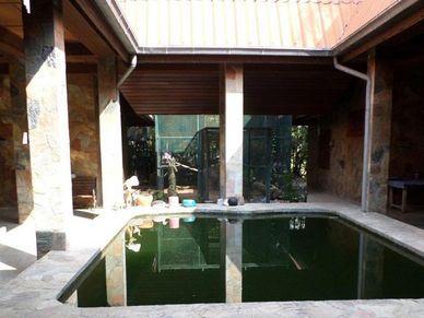Atrium building with a pond