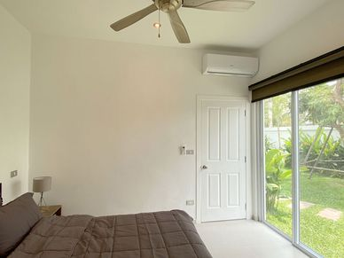 Both bedrooms - here the smaller one - have great views and en-suite bathrooms