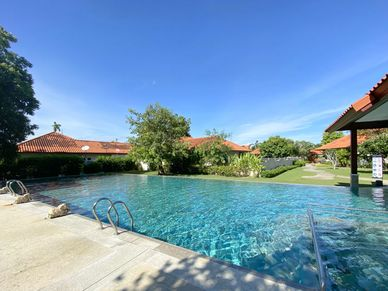 Communal pool and gardens, clubhouse and gym are provided