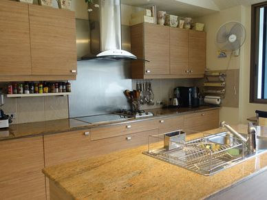 Just one side of this modern air conditioned kitchen