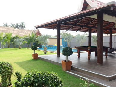 Large covered Sala with pool-table overlooking the estate