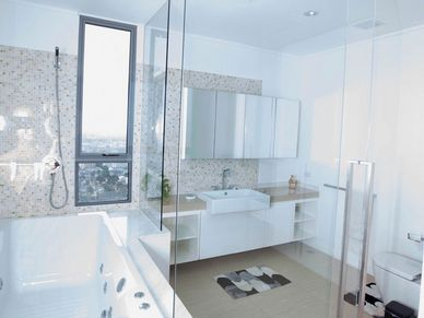 Master-bathroom with a bubble tub