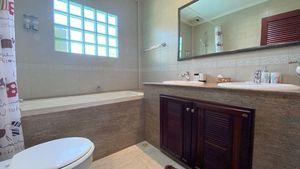One bathroom offers a tub