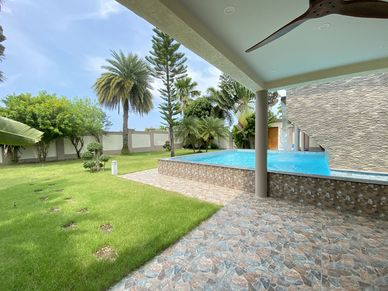 Separate entrance and pool on the lower level