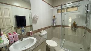 The 2 bathrooms are chic and clean