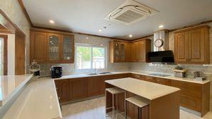 The beautiful kitchen in the main villa