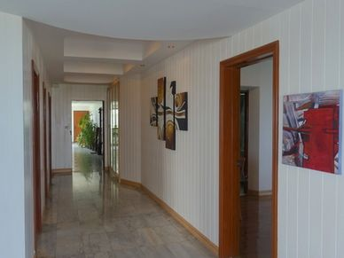 The hallway with looks towards the entrance