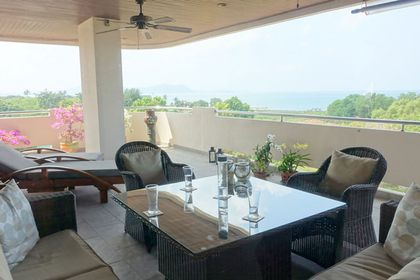 The huge terrace offers outdoor dining, lounge seating and deckchairs