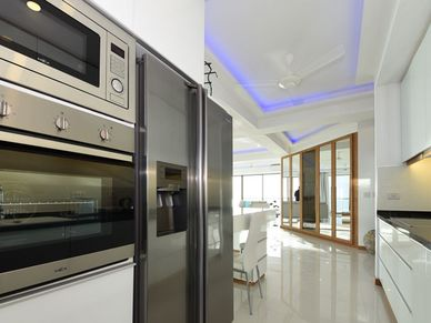 The kitchen is spacous and top-equipped