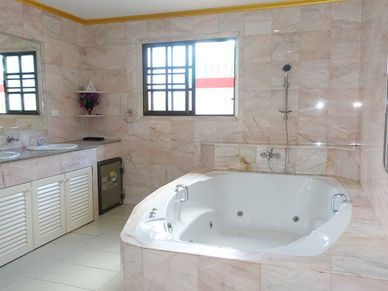 The master-bathroom - luxury  with marble and Jacuzzi tub