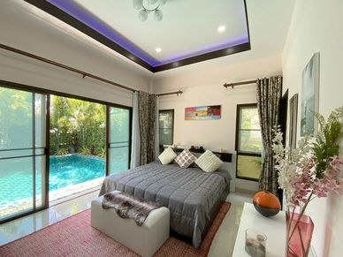 The master bedroom offers nice outdoor views