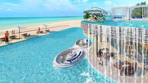The planned beachfront pool