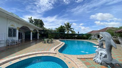 The pool and the guest house