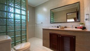 The two bathrooms are spacious and modern