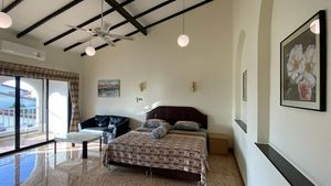 The upstairs master-bedroom