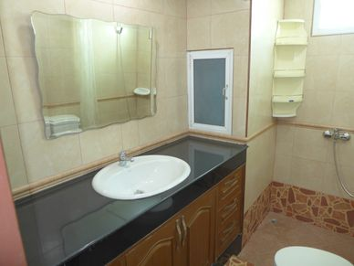 Granite top and shower area in both bathrooms