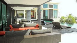 Lounge terrace and outdoor dining at this high end residence above Pattaya