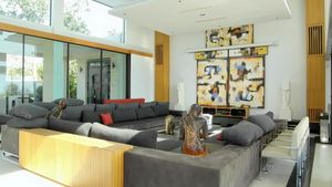Sofa and home cinema area at this high end residence above Pattaya