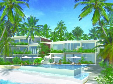 The beach-club at this seaview 1-bedroom condo Na-Jomtien