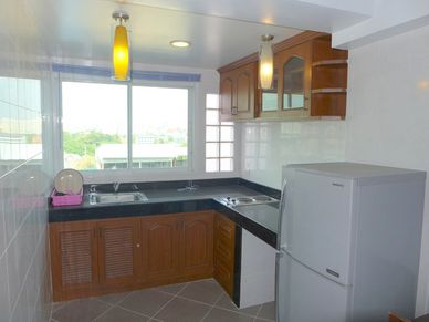 The condos kitchenette - with a view