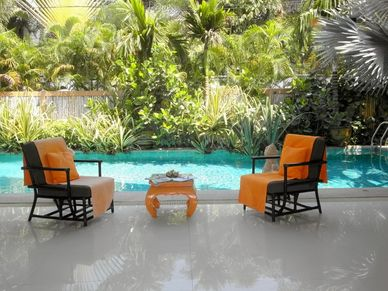 Views from the terrace at this charming Thai Bali inner city pool-villa Jomtien